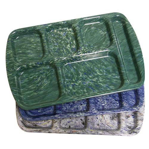 Central Exclusive M8551296 Mottled Melamine Compartment Cafeteria Trays