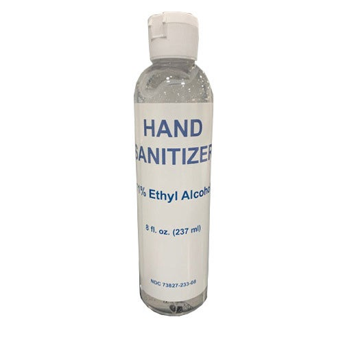 8 ounce bottle of hand sanitizer made with more than 70% ethyl alcohol to kill germs and viruses.