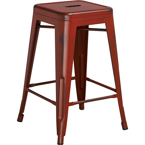 Flash Furniture Distressed Metal Backless Bar Stool Red Central Restaurant Products