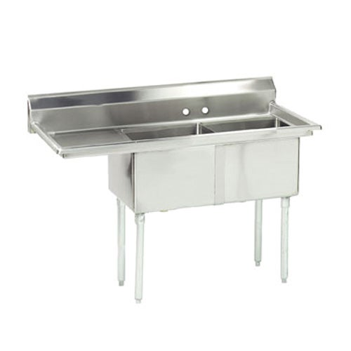 Advance Tabco FE-2-1812-18L-X FE Series Two Compartment Fabricated Sink with 18 inch drainboard on left side