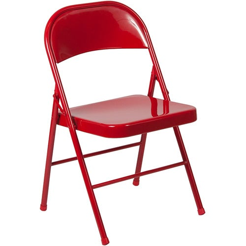 Flash Furniture BD-F002-RED-GG Double Braced Red Metal Folding Chair