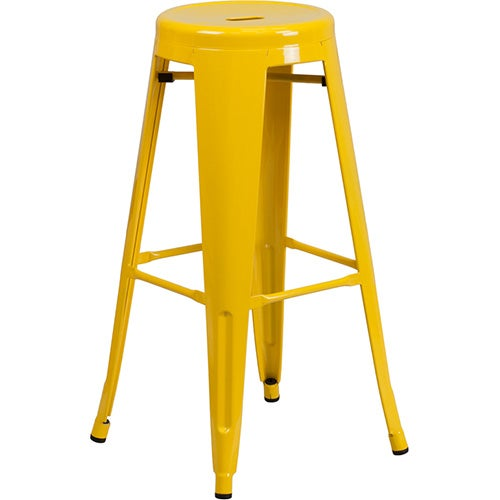 30 High Backless Yellow Metal Indoor Outdoor Barstool
