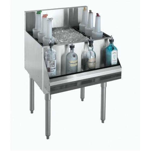 Krowne Metal KR18-24-10 Royal 1800 Series Underbar Ice Bin and Cocktail Unit with 80 lb. ice capacity