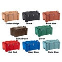 All color options of the Cambro 100MPC Top Loading Insulated Camcarrier Pan Carrier, including Coffee Beige, Black, Brick Red, Dark Brown, Green, Hot Red, Navy Blue, and Slate Blue